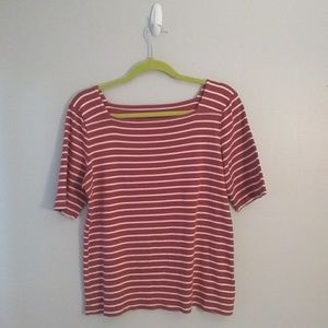 3/$25 Red Striped Square Neck 100% Cotton Tee